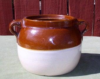 Bean Pot - Primitive Stoneware Crock Jar No. 15 - Americana Pottery