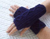 Womens Crochet Fingerless Mitts, Navy Blue Mitts, Wristwarmers, Washable Wool Mitts, Wool Blend Mitts