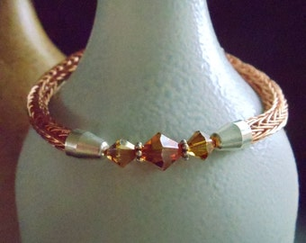 Viking Wire Knit Bracelet, Crystal Centerpiece