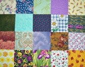 "Scrappy Patchwork Squares (#2) - 20 - 5"" Charm Squares - All Different - Cotton Quilt Fabric - Die Cut Squares"