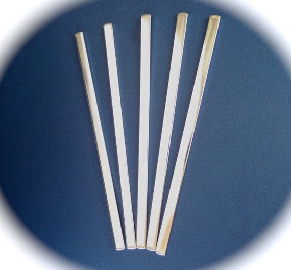 5 Cuff Blanks 1/4 x 6 Inch 14 Gauge Polished Bracelet Blank Cuffs Pure Food Safe Aluminum - 5 Cuffs - FLAT
