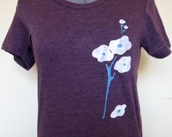 Abstract Flowers Tee Shirt Women Sizes S through XL Heather Plum