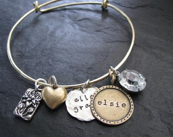 Hand stamped bangle bracelet-Hand stamped custom and personalized jewelry--The Lulu Belle Bracelet