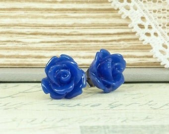 Blue Rose Earrings Blue Studs Rosebud Earrings Rose Stud Earrings Victorian Earrings Surgical Steel Studs Hypoallergenic