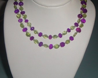 Green Peridot and Purple Amethyst with tiny Silver Balls on Sterling Cable