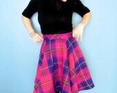 Handmade Giant Pink and Purple Plaid Circle Skirt
