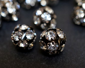 SALE - Large 12mm Gun Metal Jet Black Pave Crystal Ball Beads - 10 pcs