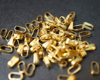 SALE - Tiny Raw Brass Vintage Style Clip On Pendant Bails  - 6mm Tall x 2.5mm Wide at Top -  30 pcs