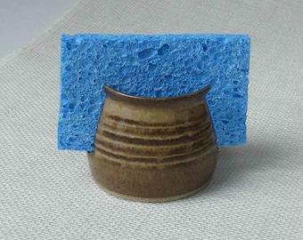 Mother's Day Gift, Sponge Holder, Rustic Brown, Handmade Ceramic Kitchen, Bathroom Spongeholder, Hostess Gift, Brown Spongie