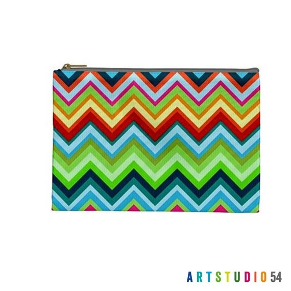 "Zig Zag Chevron Colorful Bright Pattern on a Pouch, Make Up, Cosmetic Case Travel Bag Pencil Case - 9"" X 6"" -  Large -  Made by artstudio54"