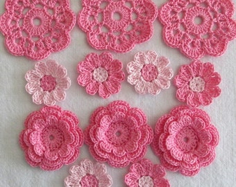 Pink Crochet Flower Appliques, Embellishments, Variety  - set of 12