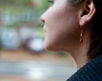 Gold and Amber Drop Earrings