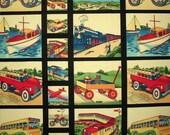 "Michael Miller Fabric Transportaion Panel retro boy kids 24"""