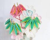 January Bamboo Celebration Tsumami Kanzashi Silk Flowers Hair sitck