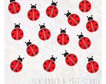 15 Ladybugs Wall Vinyl Decals Art Graphics Stickers