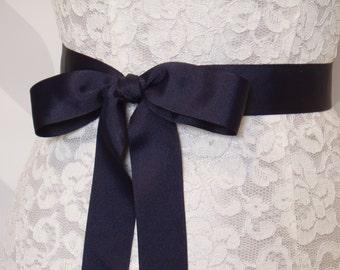 Navy Blue Bridal Sash Ribbon Sash, Wedding Sash, Grosgrain Sashes - READY TO SHIP