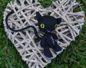 CUSTOM LISTING - PANSY28 Black and white with fluro yellow cats eyes Softie Pet Friend Kitten