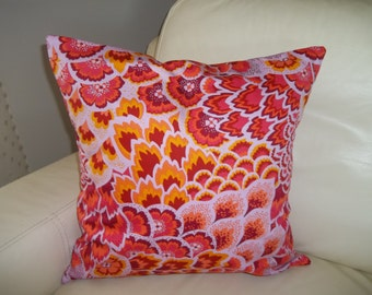 Throw Pillow Cover 18 x 18  Decorative Pillow Cover Boho Amy Butler Peacock Feathers Red & Orange