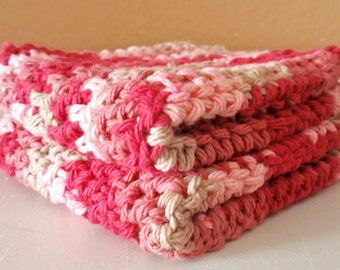 Crochet Washcloths, Pink & White Scrubbie Cloth - Eco Friendly Cleaning Cloth - Handmade Washcloth, Damask Ombre 100% Cotton Yarn - SET OF 2