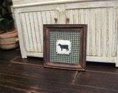 Dollhouse Miniature Cow Primitive Cloth Picture