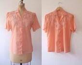 vintage lace blouse / cut-out lace blouse / Peach Blossom blouse