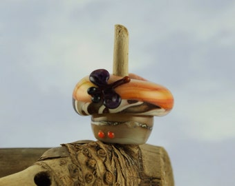 Dragonfly sitting on a mushroom cap dread bead