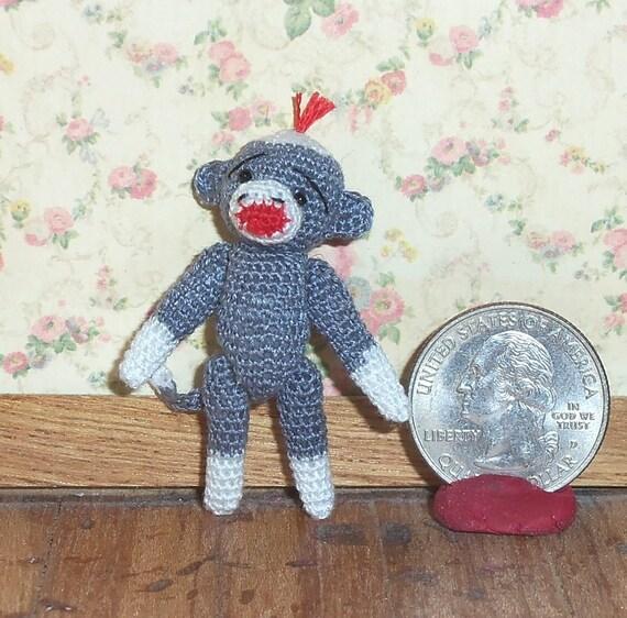 Micro Sock Monkey Grey 1 1/2 inch  Baby Sock Monkey Thread Artist Crochet Ready to Ship