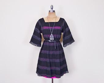 Pink & Black Mexican Dress Mini Dress Sheer Lace Dress Crochet Dress Angel Sleeve Dress Bell Sleeve Wedding Dress 70s Hippie Dress S Small