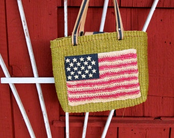 Vintage Sisal Tote Bag / American Flag / Market Bag / Natural Woven Straw / Boho Tote / Grunge/American Flag / Woven/ Vintage 90's