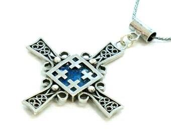Roman Glass Jerusalem Cross, 925 Silver Cross, Roman Glass Silver Cross, Blue Roman Glass Necklace, Artisan Cross, Holy Land Christian Gift