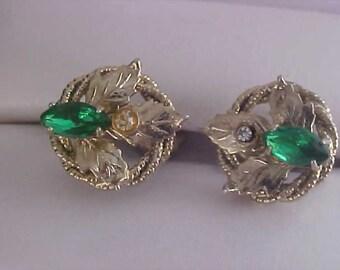 Green Marquis Rhinestones & Diamante Screw Back Earrings