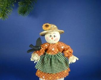 Scarecrow Girl Clothespin Doll; Scarecrow Peg Doll
