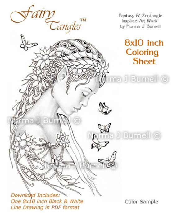 dreamer fairy butterflies fairy tangles digital printable coloring sheets gray scale images to color - Fairy Coloring Pages For Adults