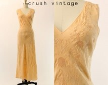40s Silk Floral Nightgown Small / 1940s Peach Tulip Slip Nightgown / Fairytale Lingerie