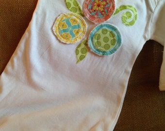 flower applique infant gown, baby girl gown, girl layette, baby shower gift