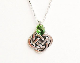 Celtic Knot Necklace, Irish Necklace, Celtic Necklace  - on Sterling Silver Chain