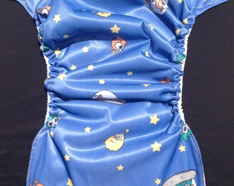 MamaBear BabyWear Waterproof Diaper Cover, Wrap One Size Fits All - Aliens in Space