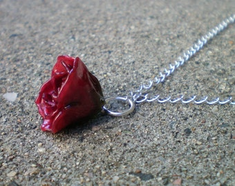 Free Shipping REAL Delicate Dark Red Marsala ROSE BUD Adjustable Sterling Silver Chain Necklace