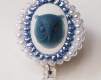 Periwinkle Blue Cameo Owl ID Badge Reel - RN ID Badge Holder - Zipperedheart