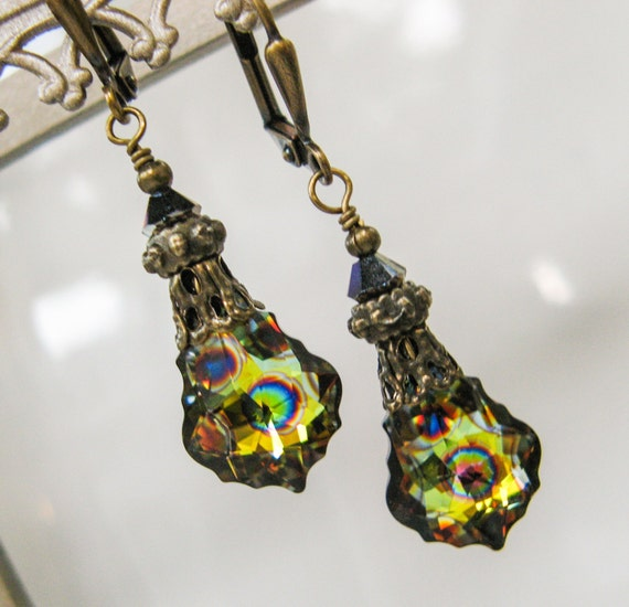 New Swarovski Peacock Baroque Crystal Pendant Earrings