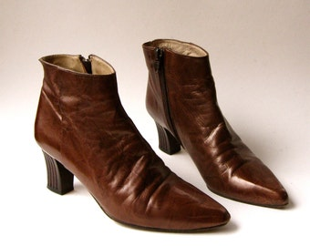 80s vintage Timothy Hitsman Mottled Metallic Dark Copper Leather  Ankle Boots