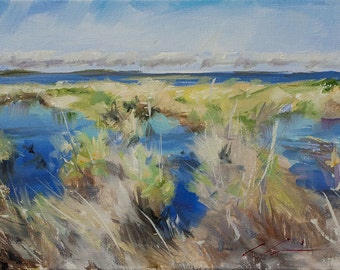 Low Country, Marsh Grass, Water, Coastal, Outer Banks, Original Painting by Clair Hartmann