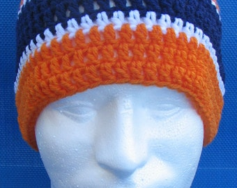 Denver Broncos Crocheted Skull Cap Beanie Game Day Gear Handmade Navy Orange White PomPom Warm Winter Super Bowl Head Gear