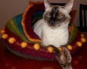 made to order wool felted cat cave bed