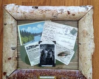 Birch Bark Framed Fishing Memorabilia III