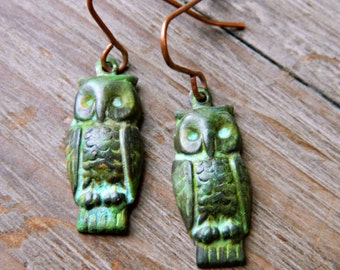 Owl Earrings.  Antique Verdigris Patina Owl Earrings.