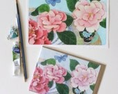 iPad mini sticker and matching blank art card: Camelias