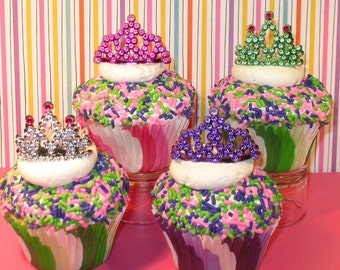 Mini Tiara Cupcake Decorations  (12)
