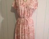 Vintage Pink Floral Dress Size 10