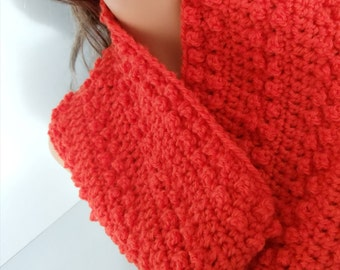 Orange Cowl made with 100% Wool